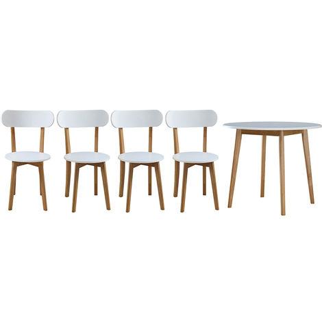 Table A Manger Scandinave Et 4 Chaises Blanc Et Bois Leena