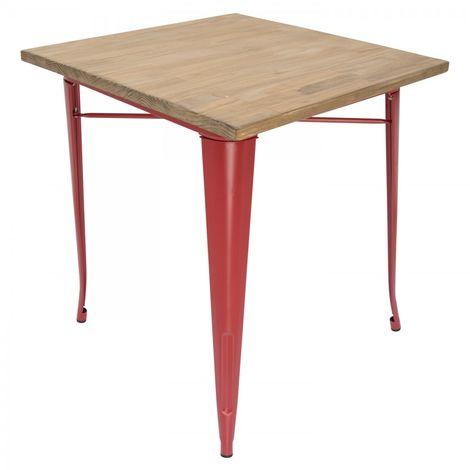 Table à manger Tolix avec plateau en bois et pieds rouges