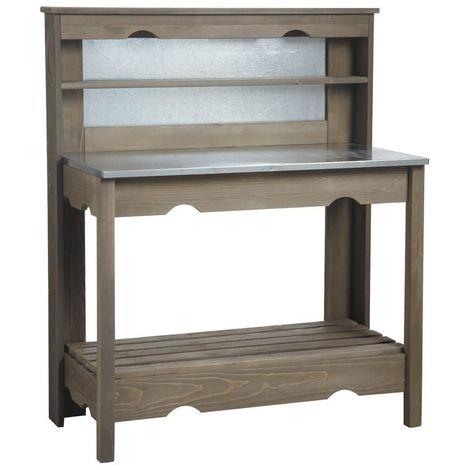 Table à plancha en bois et zinc - Lasuré
