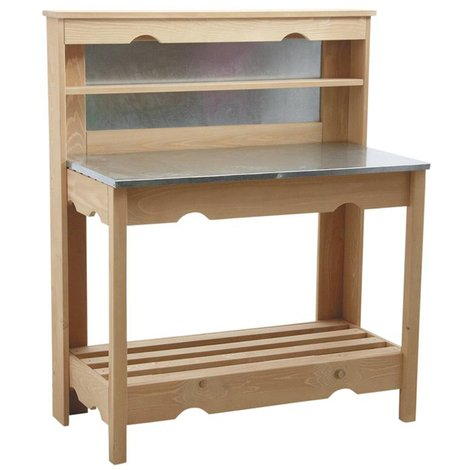 Table à plancha en épicéa et zinc, dimensions : 102 x 51 x 120