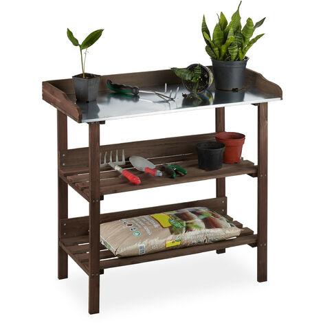 , Table à plantes, plaque métallique, Table de dépotage avec rangements, bois, 86 x 92 x 41 cm, marron foncé