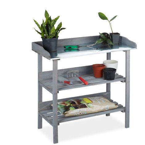 , Table à plantes, plaque métallique, Table de dépotage avec rangements, bois, jardin, 86 x 92 x 41 cm, gris