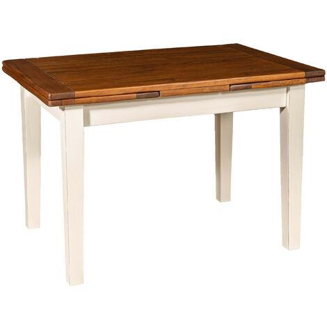 Table à rallonge champêtre en bois massif de tilleul avec structure antique blanche et plateau en noyer