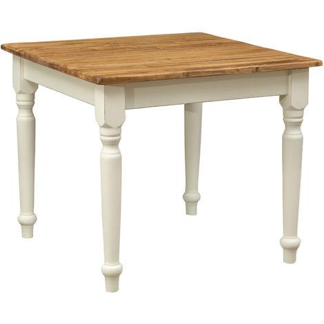 Table à rallonge style champêtre en bois massif de tilleul avec structure antique blanche et plateau en finition naturelle