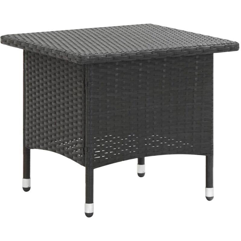Table à thé Noir 50x50x47 cm Résine tressée