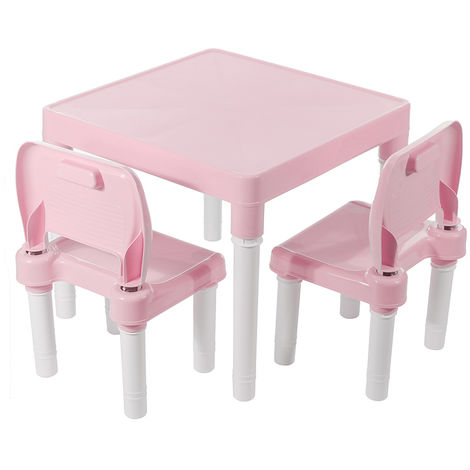 Table and 2 Chairs Plastic Child Pink Hasaki