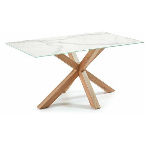 Table Argo 160 cm grès cérame pieds effet bois
