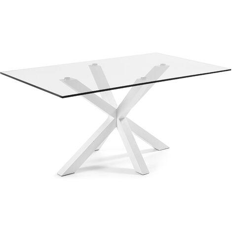 Table Argo 160 cm verre pieds blanc