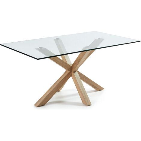 Table Argo 160 cm verre pieds effet bois