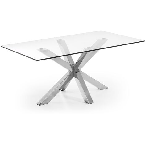 Table Argo 160 cm verre pieds en acier inoxydable