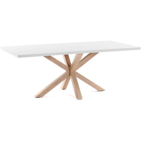 Table Argo 200 cm mélamine blanc pieds effet bois
