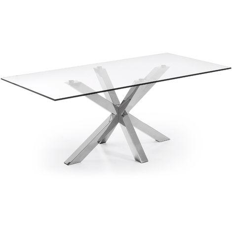 Table Argo 200 cm verre pieds en acier inoxydable
