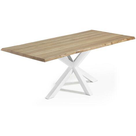 Table Argo 220 cm chêne naturel pieds blanc