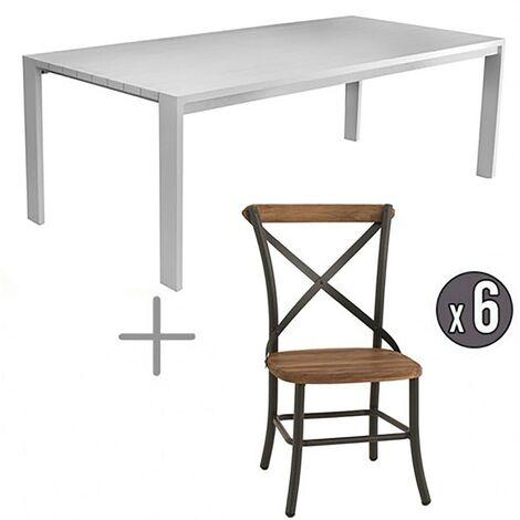 """main image of """"Table avec chaises aluminium et teck 6 personnes Castelo"""""""