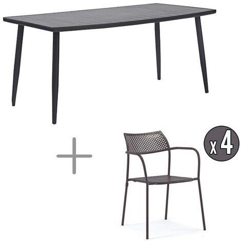 Table avec chaises métal 4 personnes