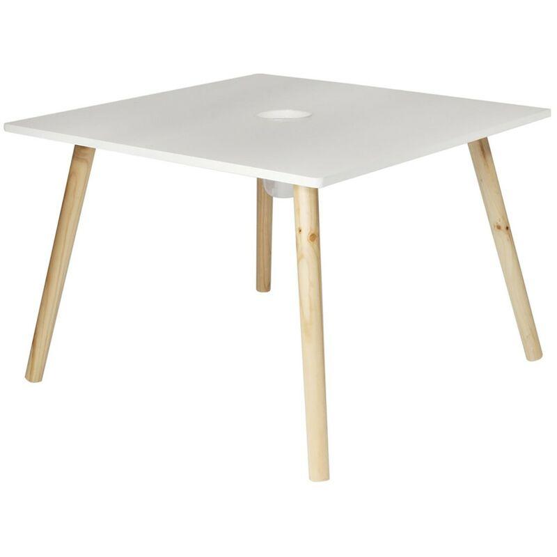 Table avec pot à crayons gribouille - Blanc
