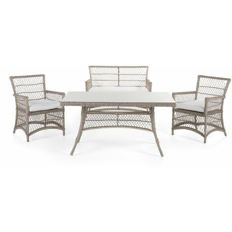 Table, banquette et chaises en rotin haut de gamme