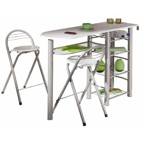Table bar + 2 tabourets + rangements - Blanc - Ensemble table et chaises - Livraison gratuite