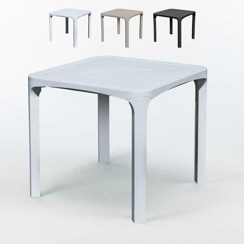 Table bar café Poly rotin 80x80 Grand Soleil Olè | Blanc