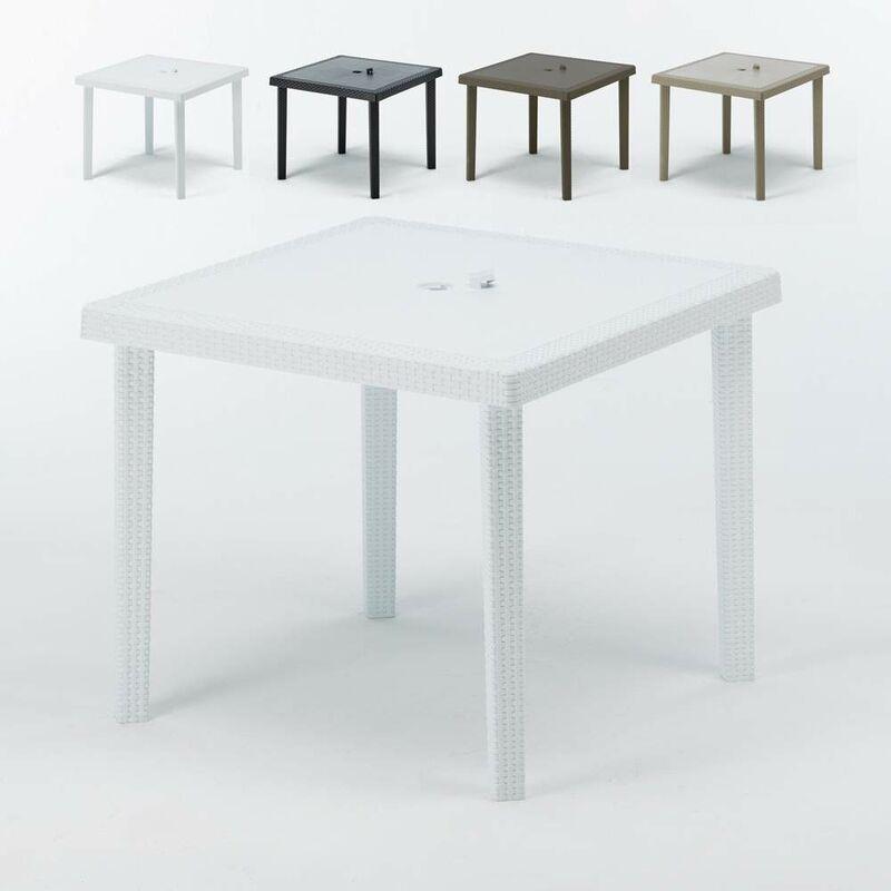 Table bar café Poly rotin 90x90 Grand Soleil BOHÊME | Blanc
