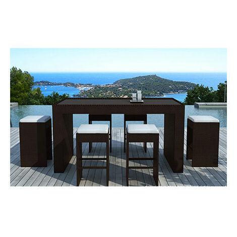 Table-bar de jardin + 6 tabourets en résine tréssée chocolat - 1313371
