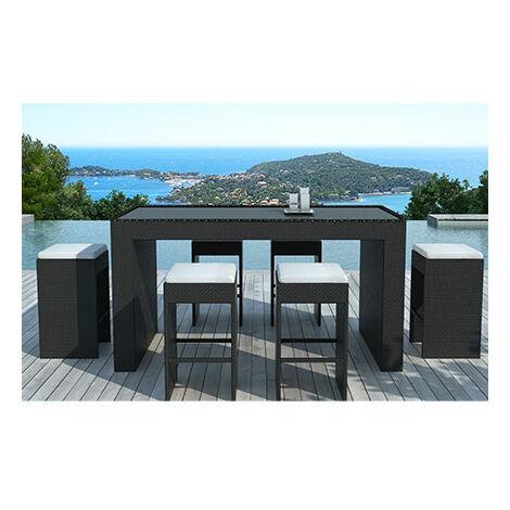 Table-bar de jardin + 6 tabourets en résine tréssée noire