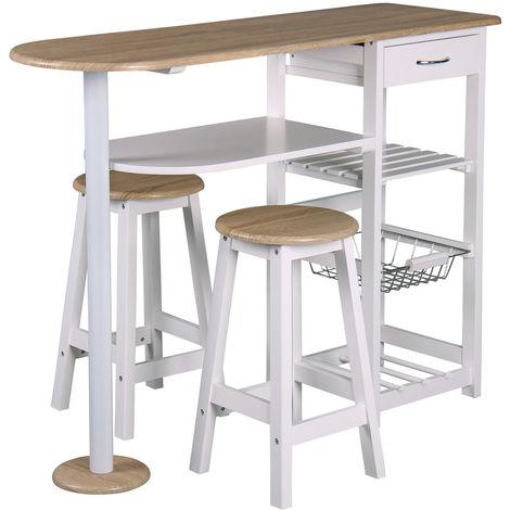 Table-bar et 2 tabourets de cuisine , desserte de cuisne, table d'appoint, L 119 x P 37 x H 88 cm