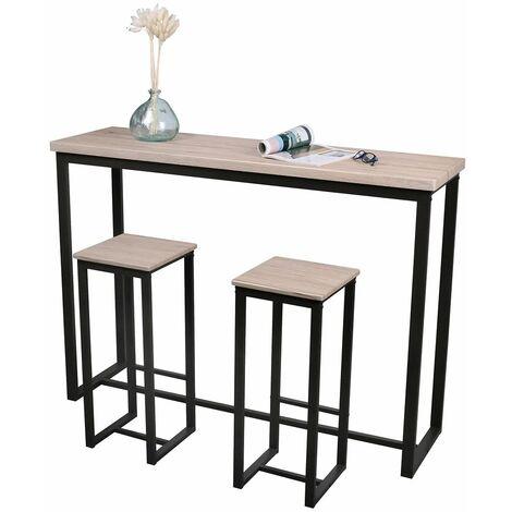"""main image of """"Table bar mural avec 2 tabourets Dock - Noir"""""""