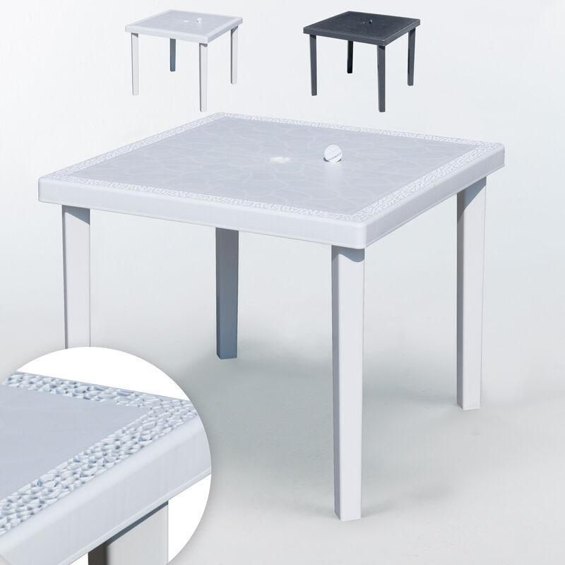 Table bar Poly-rotin carrée 90x90 Grand Soleil Gruvyer | Blanc