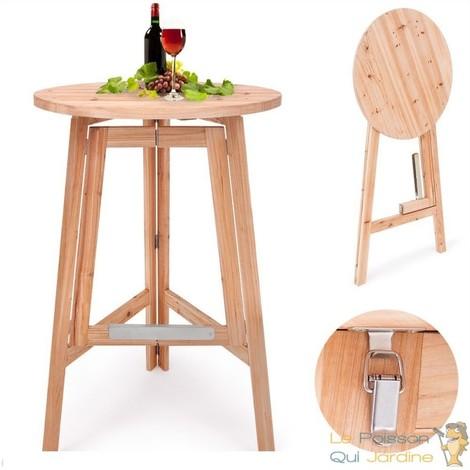 Table Bar Ronde Pliable En Bois Massif De Hauteur De 110 Cm