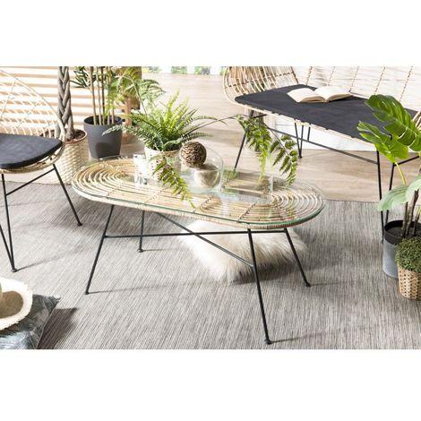 Table basse 100x45cm rotin naturel plateau verre pieds métal - Naturel