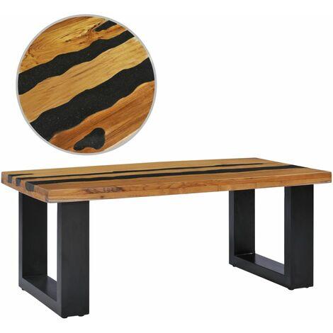 Table basse 100x50x40 cm Bois de teck massif et pierre de lave