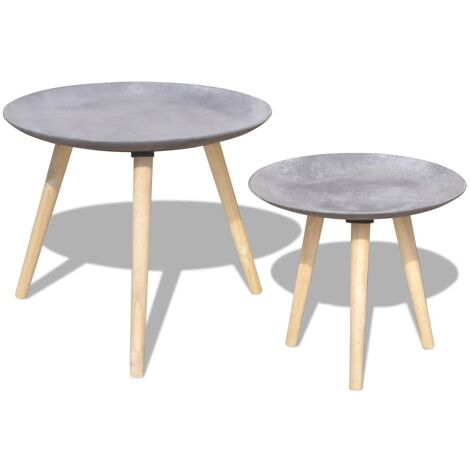 Table basse 2 pcs 55 cm et 44 cm Gris cement