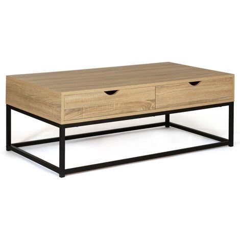 "main image of ""Table basse 2 tiroirs DETROIT design industriel"""