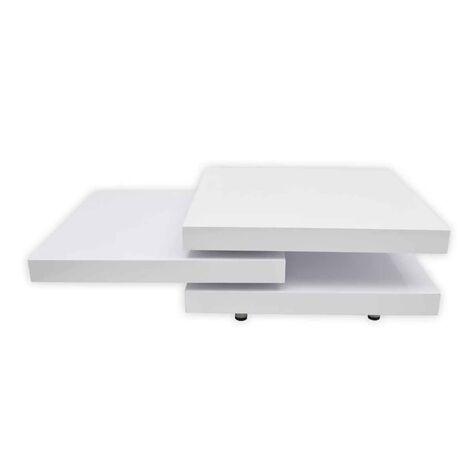 """main image of """"Table basse blanc laqué / noir laqué carrée pivotante 3 plateaux"""""""