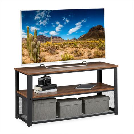table basse, 3 supports, en métal, veinure de bois, pour le salon, style industriel, banc TV,HxlxP 51x100x40cm, brun