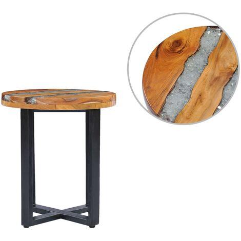 Table basse 40 x 45 cm Bois de teck massif et polyresine