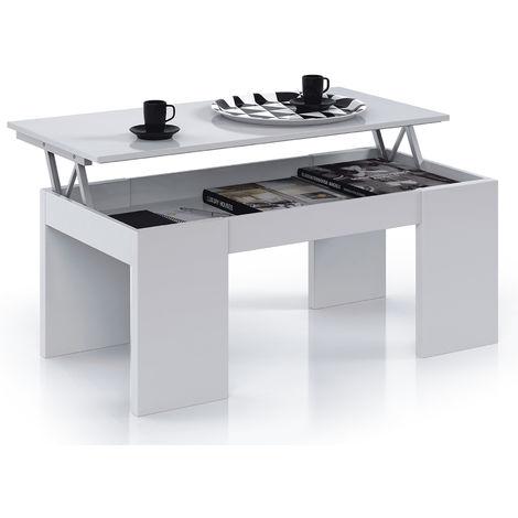 Table Basse à Plateau Relevable coloris blanc brillant - Dim : 100 x 50 x 42 cm -PEGANE-