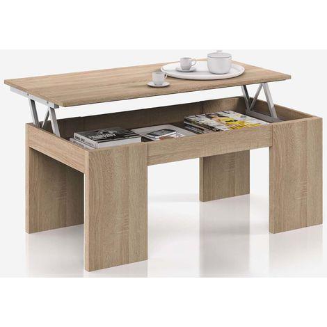 Table Basse à Plateau Relevable coloris chêne canadien - Dim : 100 x 50 x 42 cm -PEGANE-