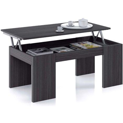 Table Basse à Plateau Relevable coloris gris cendre - Dim : 100 x 50 x 42 cm -PEGANE-