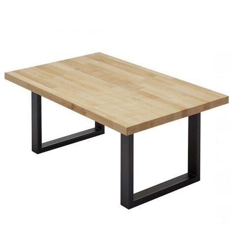 Table basse ANJOU 110 X 70 CM plateau hêtre massif huilé et piètement en métal laqué noir - natural