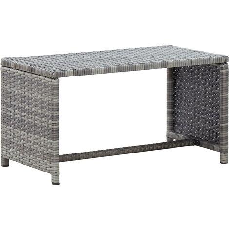 Table basse Anthracite 70x40x38 cm Résine tressée9105-A