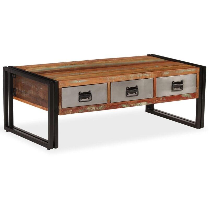 site réputé f3fb8 cfa94 Table basse avec 3 tiroirs Bois de récupération 100x50x35 cm