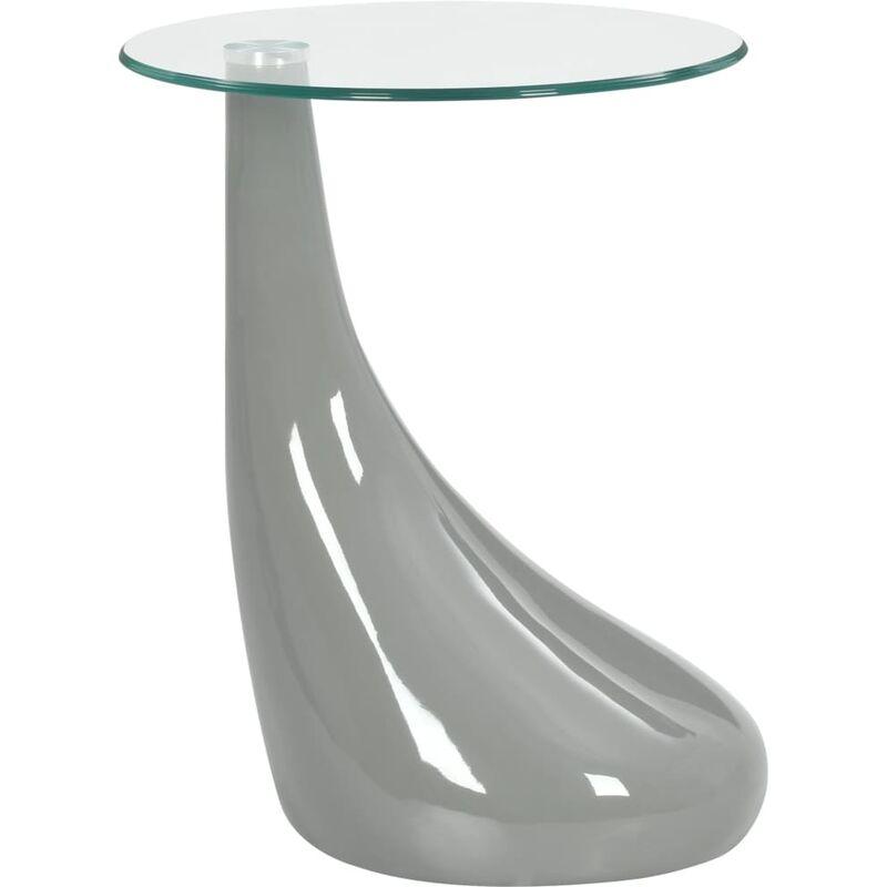 Table Basse Avec Dessus De Table En Verre Rond Gris Brillant