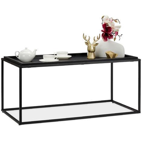 Table basse avec gros support, design moderne, de sofa, Métal, MDF,HxlxP: 45,5 x 100 x 50 cm, Noire
