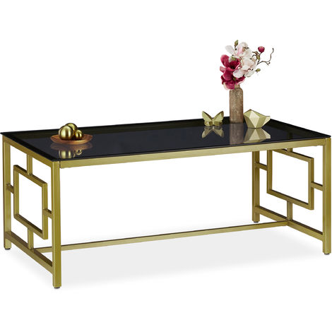 Table basse avec plaque de verre noire,cadre métallique,Table de salon,HxlxP 45 x 110 x 60 cm,noire, dorée