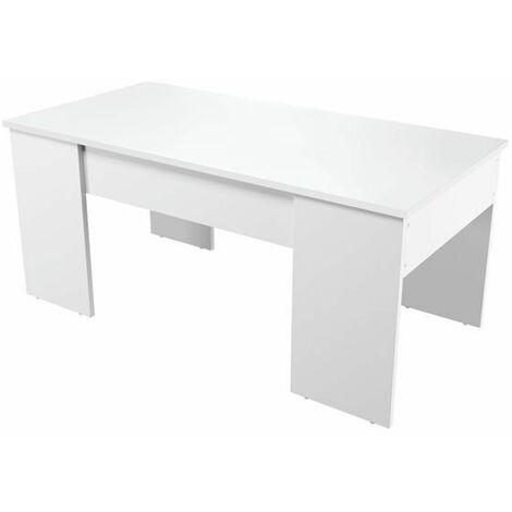 Table Basse avec Plateau Relevable Blanc