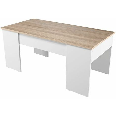 Table Basse avec Plateau Relevable Blanc / Bois