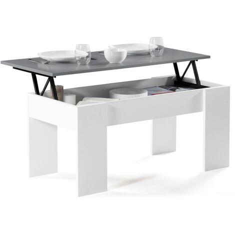 Table basse avec plateau relevable bois blanc et gris