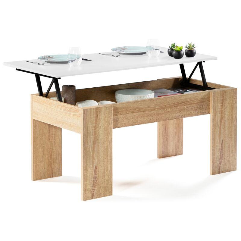 Table Basse Plateau Escamotable.Table Basse Avec Plateau Relevable Bois Blanc Et Imitation Hetre